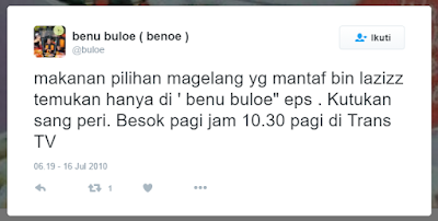 Ayam Bakar Larasati ditayangkan dalam program Benu Buloe episode Kutukan Sang Peri tanggal 17 Juli 2010