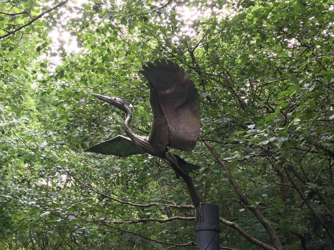 metal-bird-in-flight-statue-cwm-carn-forest