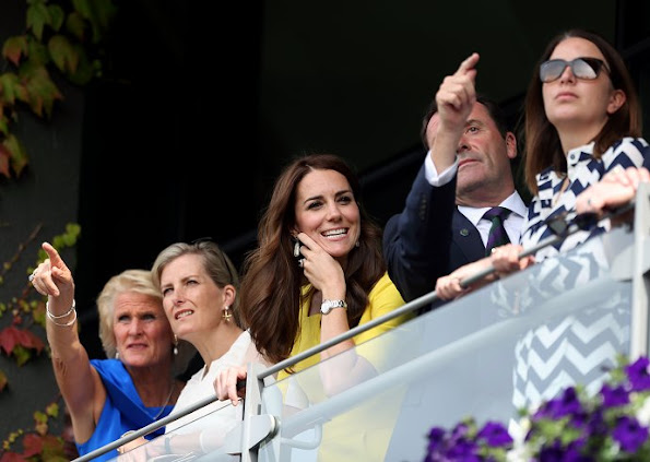 Catherine, Duchess of Cambridge and Sophie, Countess of Wessex attend day ten of the Wimbledon Tennis Championships at Wimbledon