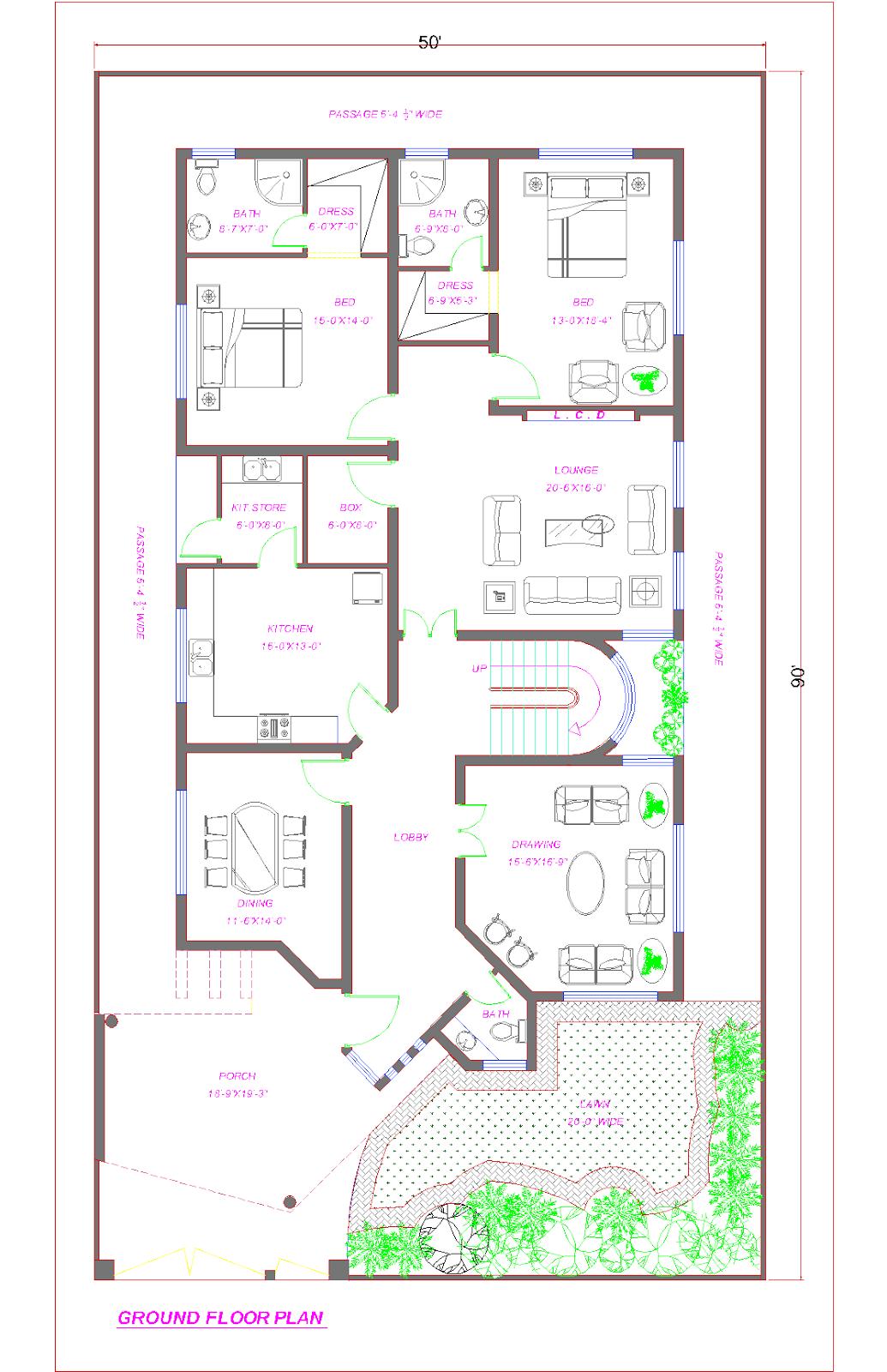 Home Interior Design Pakistan 3d Front Elevation Com Floor Plan Of 1 Kanal House Lahore