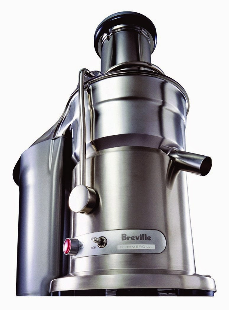 "Breville 800JEXL Juice Fountain Elite 1000-Watt Juice Extractor, stainless steel case, 3"" circular feed tube for whole fruits/vegs, centrifugal juicer, 2 speeds, NutriDisc with titanium-plated cutting blades"