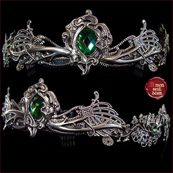 couronne dame nature elfe foret vert vegetal nymphe tiare dryade wicca diademe mariage pagan elven wiccan crown silver green dryad nymph tiara floral headdress wedding medieval fairy fantasy