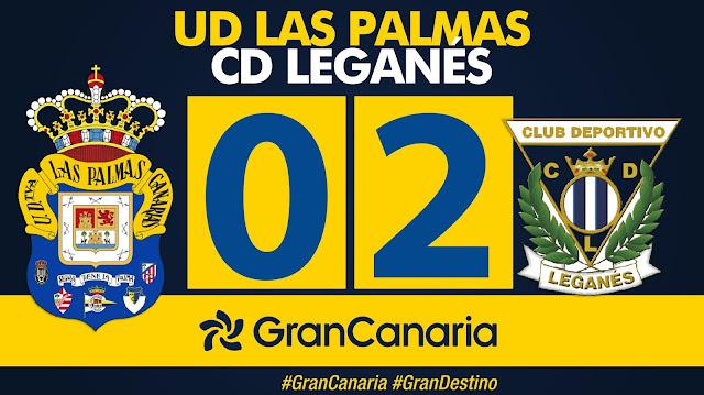 Marcador final UD Las Palmas 0-2 CD Leganés