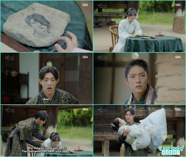 king wang so go there to see hae so and wang jung but that time wang jung holding hae soo in his arms taking he rto the room - Moon Lovers Scarlet Heart Ryeo - Episode 20 Finale (Eng Sub)