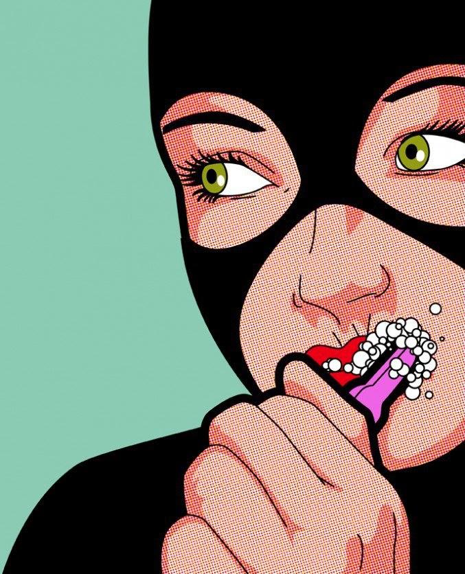 ilustración de super héroes cultura pop gatubela