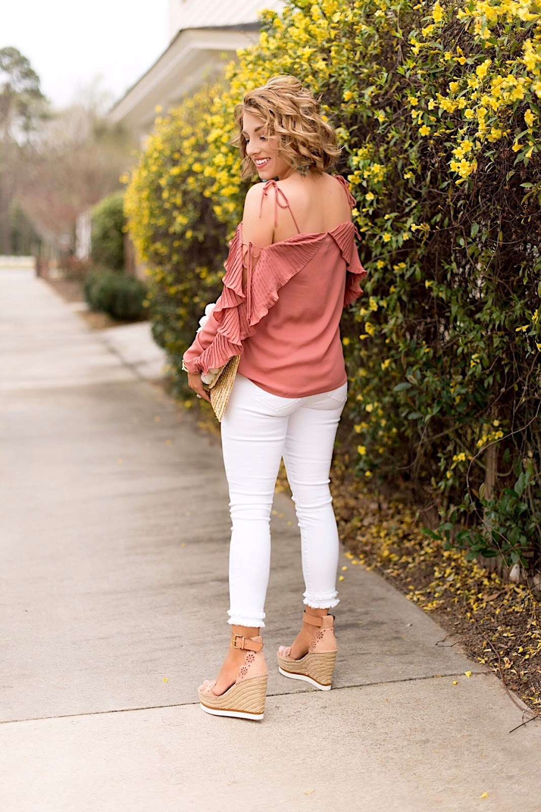 Pleated Cold Shoulder Top & See by Chloe Wedges - Click through to see more on Something Delightful Blog