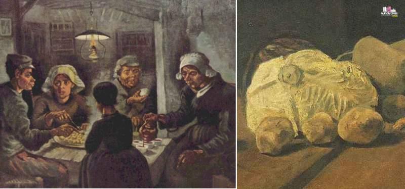 I mangiatori di patate e Natura morta con cavolo e zoccoli di Vincent Van Gogh