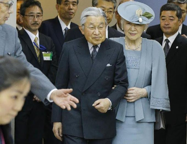 Emperor Akihito and Empress Michiko visited the Takamatsuzuka Tomb Museum in the village of Asuka on the last day of their three-day trip to Nara Prefecture, newmyroyals, diamond earrings, ring, wedding lace dress