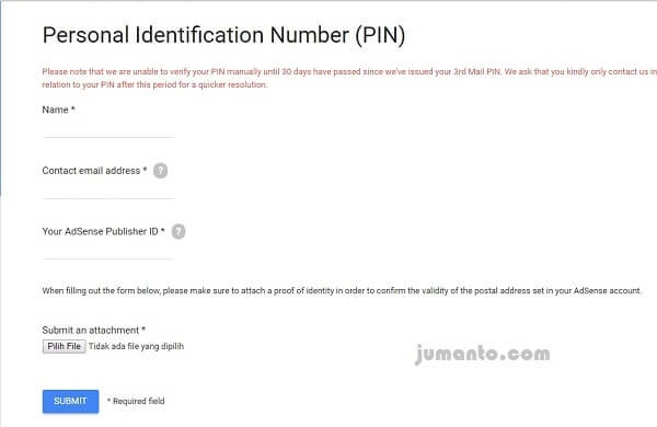 verifikasi pin adsense menggunakan KTP
