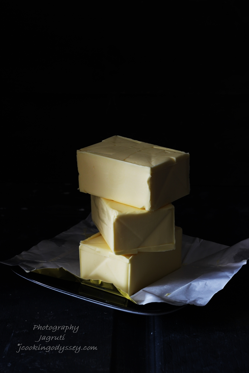 Picture of stacks of unsalted butter which will be made into ghee