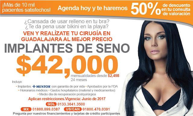 precio implantes de seno aumento mexico df cdmx guadalajara