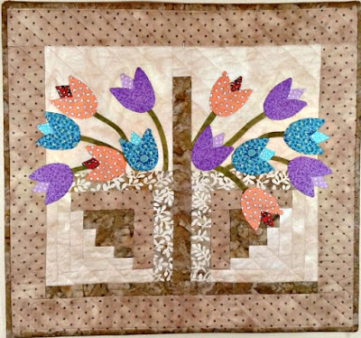 tulip basket mini quilt applique pattern