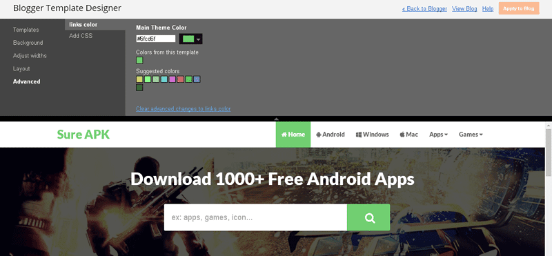 Sure APK Blogger Template Unlimited colors