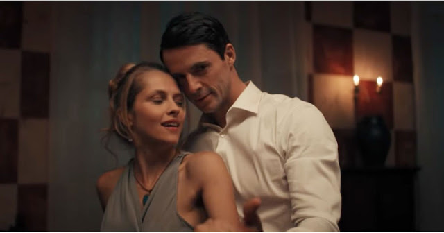 Matthew Goode & Teresa Palmer cuddling in A Discovery of Witches based on the book by Deborah Harkness
