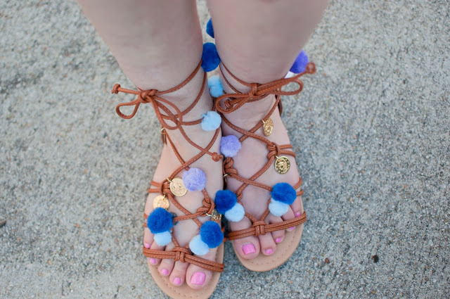 Greek Pom Pom Sandals DIY, How to make your own pom pom sandals, trendy sandals, spring and summer sandal trends, atlanta style bloggers, DIY sandals tutorial