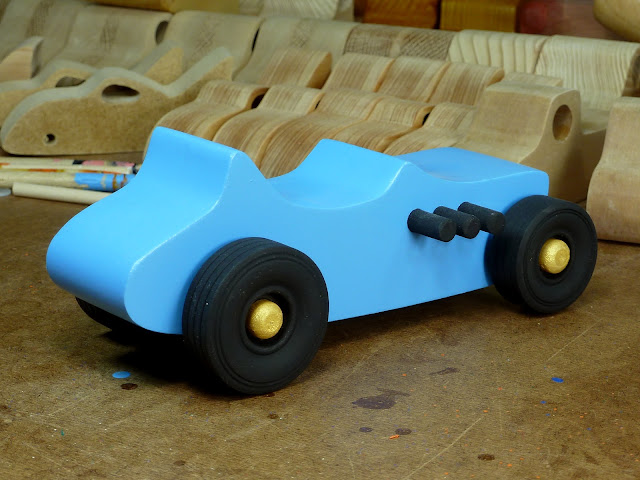 Right Rear - Wooden Toy Car - Hot Rod Freaky Ford - 27 T Bucket - MDF - Blue - Black - Gold