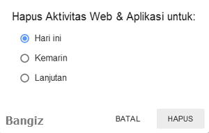 Hapus aktivitas web & aplikasi