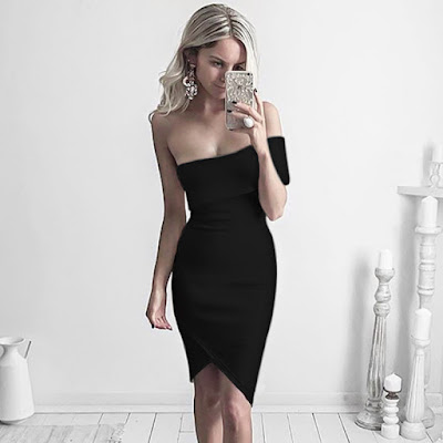 Sexy Asymmetric Black Bandage Club Dress