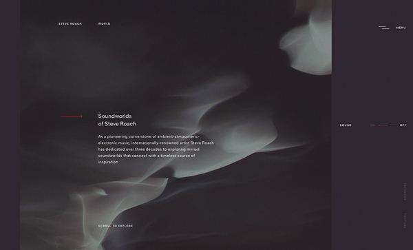 Trend and Inspiration Web Design 2018 - Soundworlds of Steve Roach