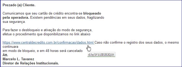 e-mail com conteúdo falso e link suspeito
