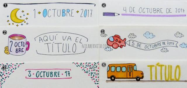 Márgenes para cuadernos con dibujos variados (Nica Bernita)