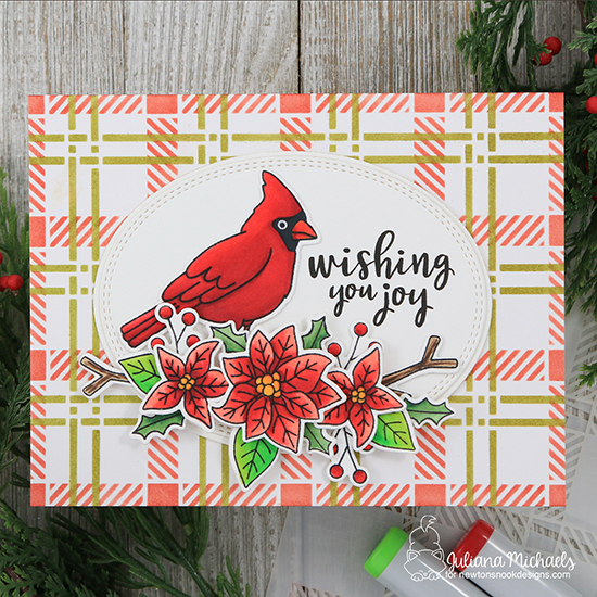 Cardinal Holiday Card by Juliana Michaels | Poinsettia Blooms and Winter Birds Stamp Sets and Plaid Stencil Set by Newton's Nook Designs #newtonsnook #handmade