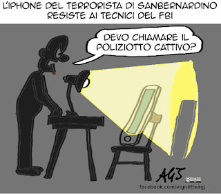 San Bernardino, iphone, apple, fbi, privacy, sicurezza, vignetta satira