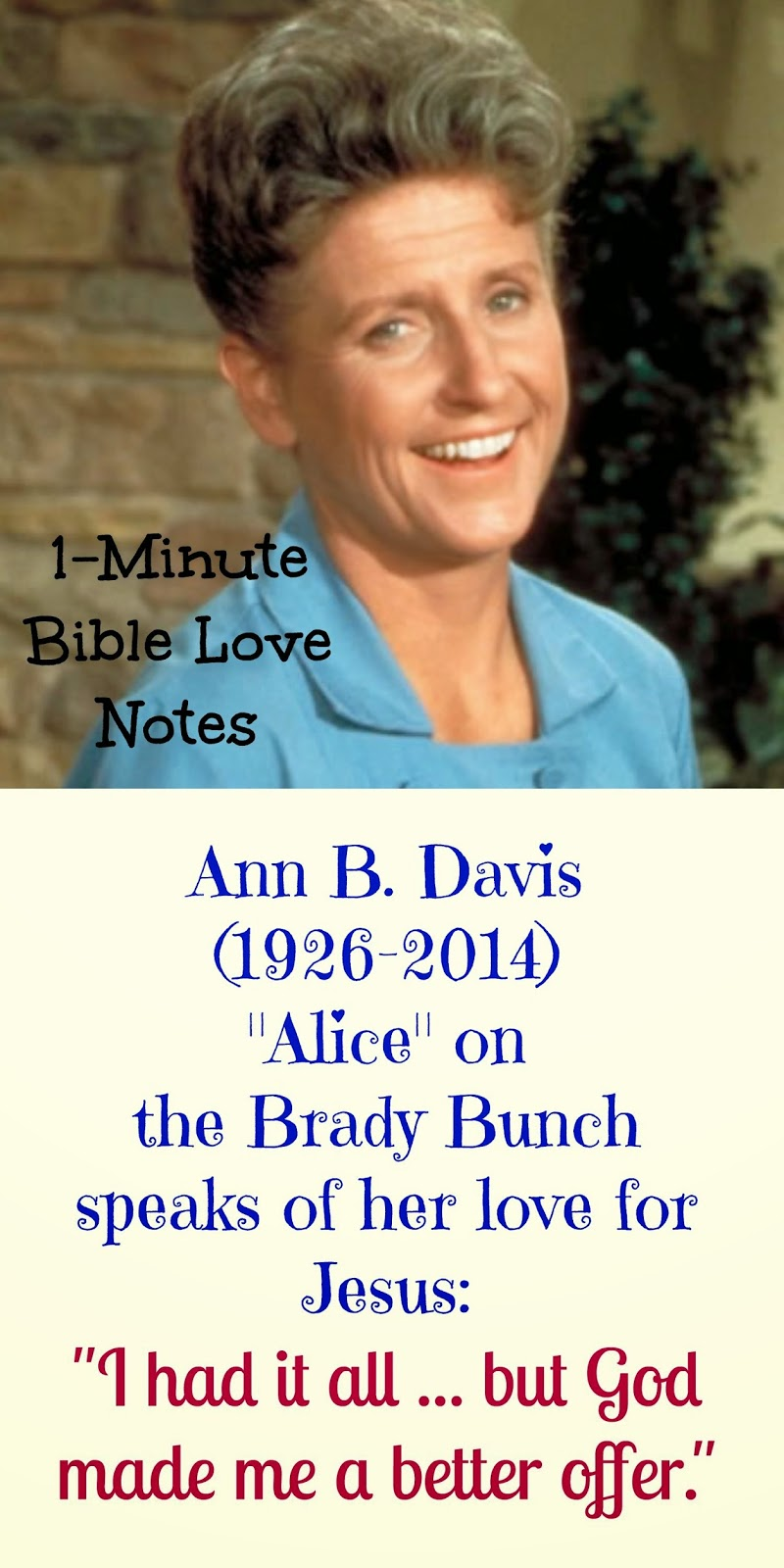 Ann B. Davis dies, Alice on Brady Bunch Dies, Ann B. Davis Strong Christian