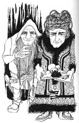 Drawing of a male and female dwarf, many details in the drawing