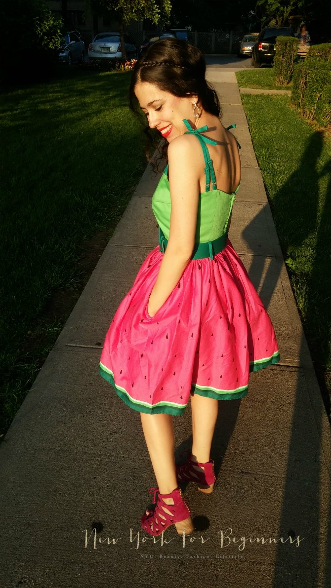 Rockability watermelon dress and Aerosoles sandals