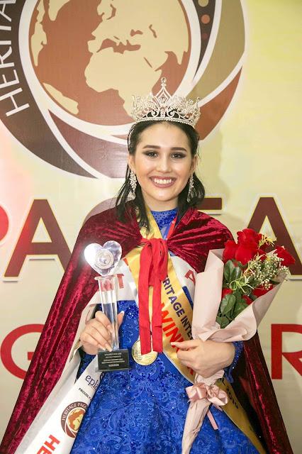2019 Miss Heritage International is Gulbanu Madiyarova of the Central Asia