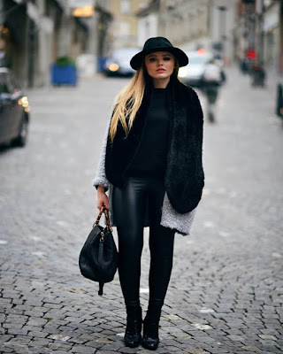 outfit negro oversized de invierno