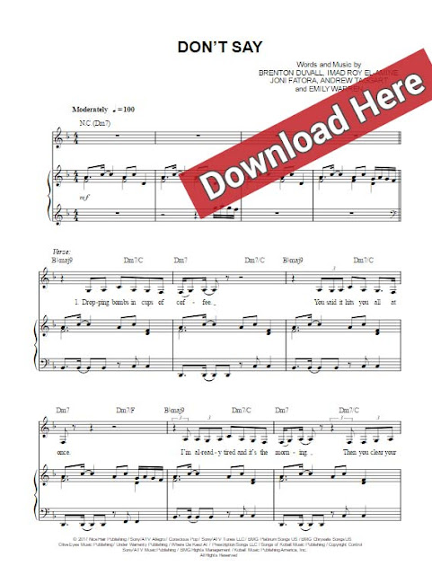 the chainsmokers, don't say, emily warren, sheet music, piano notes, chords, download, pdf, klavier noten, keyboard, guitar, tabs, vocals, voice