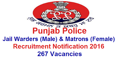Punjab Jail Warders & Matrons recruitment 2016