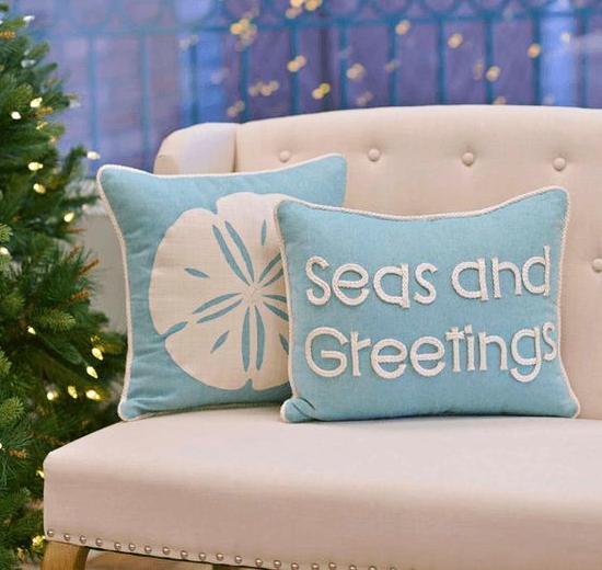 Seas and Greetings Christmas Pillow