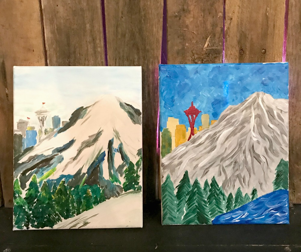 paint and wine night and Seattle skyline canvas