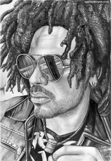 Original hand-drawn portrait illustration of Musician Lenny Kravitz. Size A4: 21 x 29.7cm 220 gsm white paper (not framed) Media: Pencil, Ink and acrylic paint. Signed and Dated