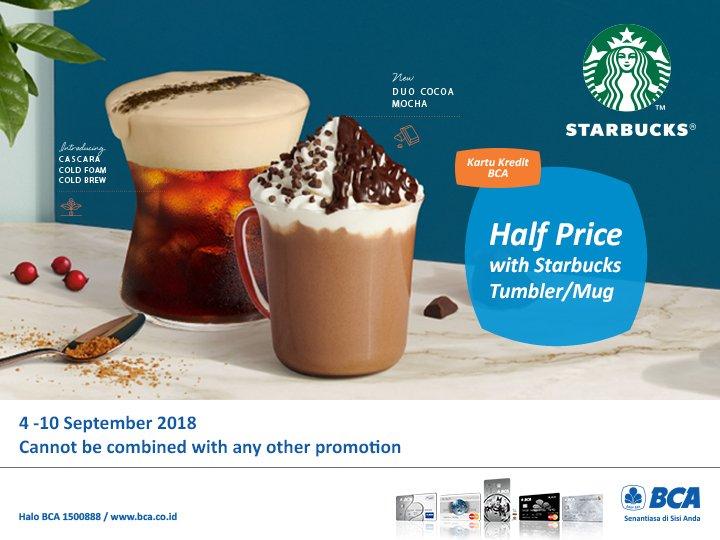 Bank BCA - Promo Spesial Half Price di Starbuck Pakai BCA Kartu Kredit (s.d 10 Sept 2018)