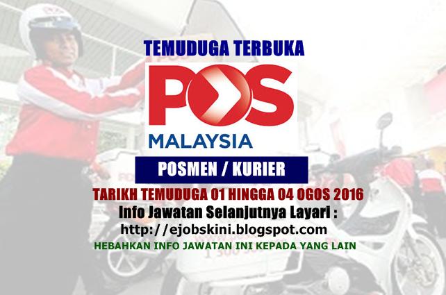temuduga terbuka di pos malaysia berhad ogos 2016