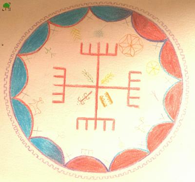 czerwony, niebieski, rysunek, Jasza, Perun, słowiańscy bogowie