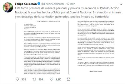HOY; Felipe Calderón hinojosa renuncia al Partido Acción Nacional