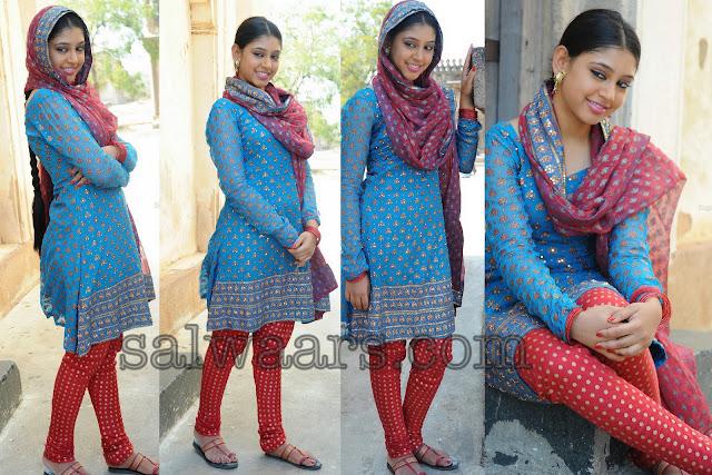 Telugu Actress Jyothi In Blue Salwar: Neeti In Sky Blue Georgette Salwar
