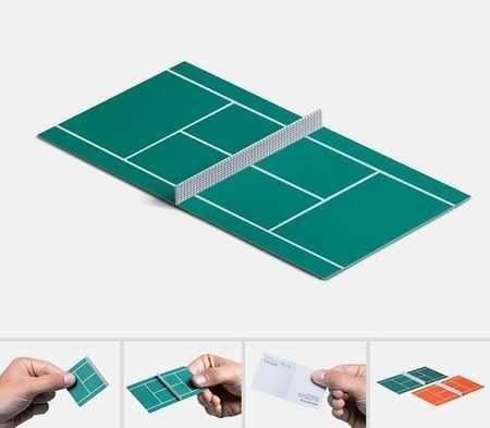 بطاقة عمل مدرب تنس أرضي على شكل ملعب تنس أرضي