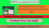 Jharkhand State Livelihood Promotion Society Recruitment 2017– District Program Coordinator, District Accountant