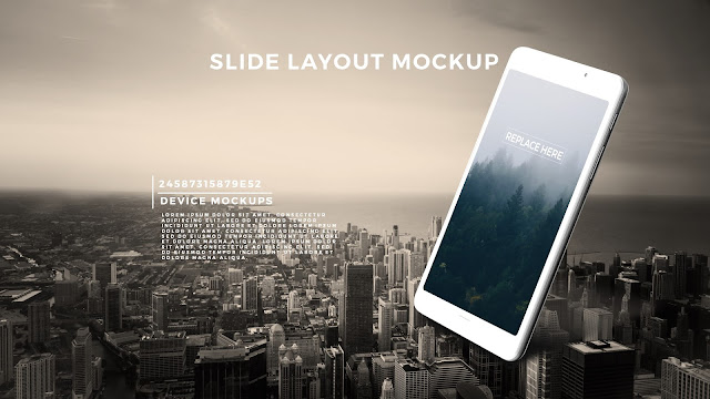 Perspective GALAXY TAB Screen Mockup PowerPoint Template with Background