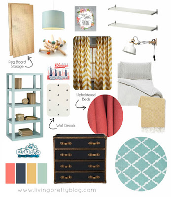 Mood Board Design Plan - Blue Red Mint Kids Room - Shared Kids Room Reveal - One Room Challenge