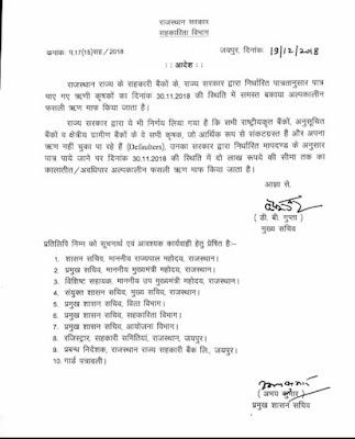 राजस्थान किसान कर्ज़ माफ आदेश , कर्ज़ माफ सरकारी घोषणा पत्र