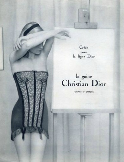 Christian Dior 1955 Lingerie Ad of model in corselette