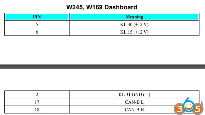 Mercedes ECU Dashboard ISM Pinouts to AVDI VVDI etc - Auto