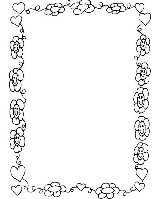 COLOREA TUS DIBUJOS: Borde de corazones y flores para